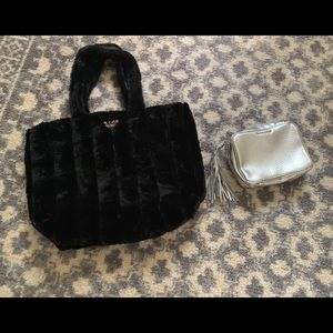Fuzzy Victoria Secret Bag and Makeup Bag